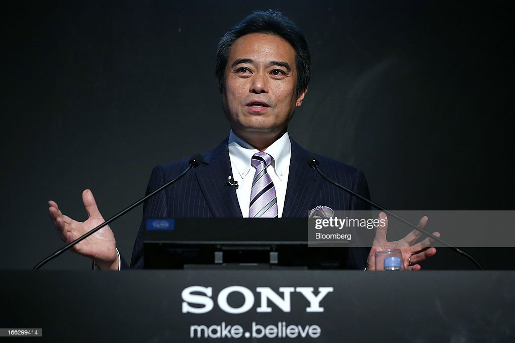 Masashi Imamura, senior vice president at Sony Corp., speaks during the launch event for the company's Bravia 4K liquid crystal display (LCD) televisions in Tokyo, Japan, on Thursday, April 11, 2013. Sony is sticking with a goal of turning Japan's largest TV-manufacturing business profitable this fiscal year even as it continues losing global market share to Samsung Electronics Co. Photographer: Kiyoshi Ota/Bloomberg via Getty Images