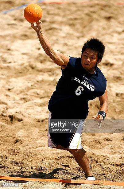 Masashi Kimura of Japan shoots for goal in the Men's Beach Handball match between Oman and Japan on day three of the 2008 Asian Beach Games at Sanur...
