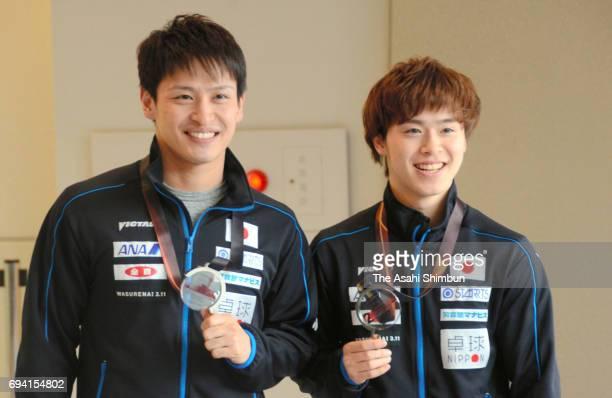 Masataka Morizono and Yuya Oshima of Japan are seen on arrival at Narita International Airport on June 7 2017 in Narita Chiba Japan