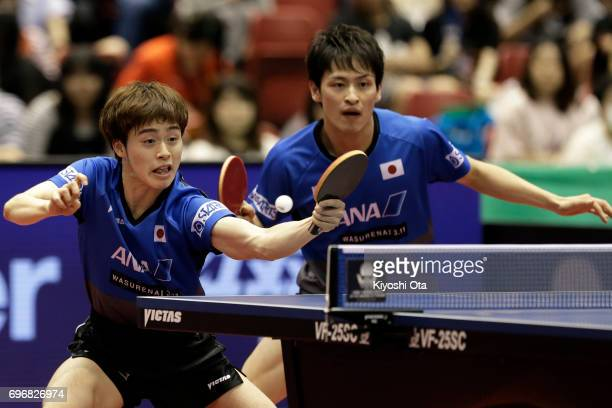 Masataka Morizono and Yuya Oshima of Japan compete in the Men's Doubles semi final match against Koki Niwa and Maharu Yoshimura of Japan during day...