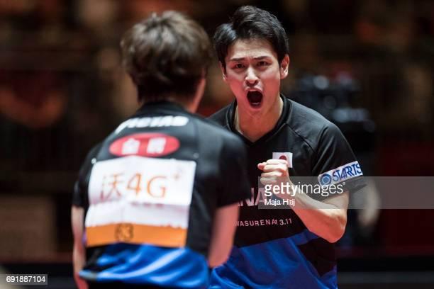 Masataka Morizono of Japan and Yuya Oshima of Japan celebrate during Men's Doubles SemiFinals at Table Tennis World Championship at Messe Duesseldorf...