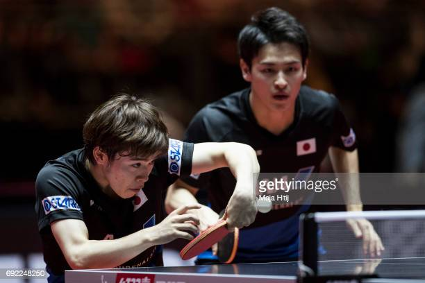 Masataka Morizono of Japan and Yuya Oshima of Japan in action during Men's Doubles Final at Table Tennis World Championship at at Messe Duesseldorf...