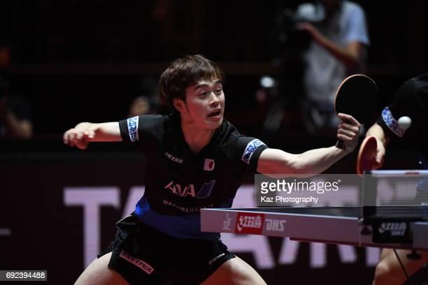 Masataka Morizono returns the ball at Messe Duesseldorf on June 4 2017 in Dusseldorf Germany