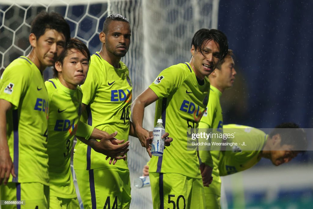 Masato Kudo and Sanfrecce Hiroshima players celebrate their 1-0 victory after the J.League J1 match between Gamba Osaka and Sanfrecce Hiroshima at Suita City Football Stadium on April 7, 2017 in Suita, Osaka, Japan.
