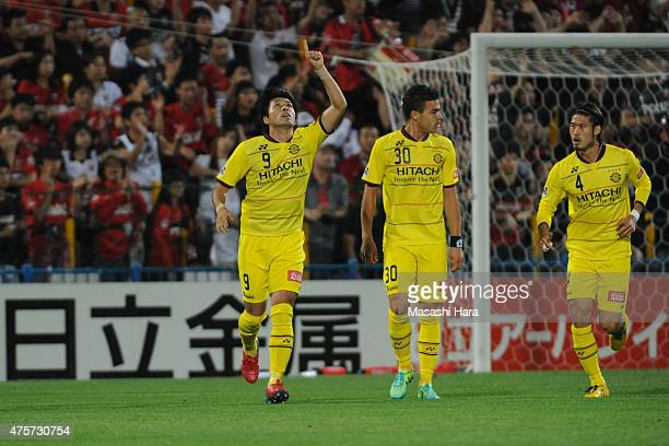 Masato Kudo celebrates the first goal during the JLeague match between Kashiwa Reysol and Urawa Red Diamonds at Hitachi Kashiwa Soccer Stadium on...