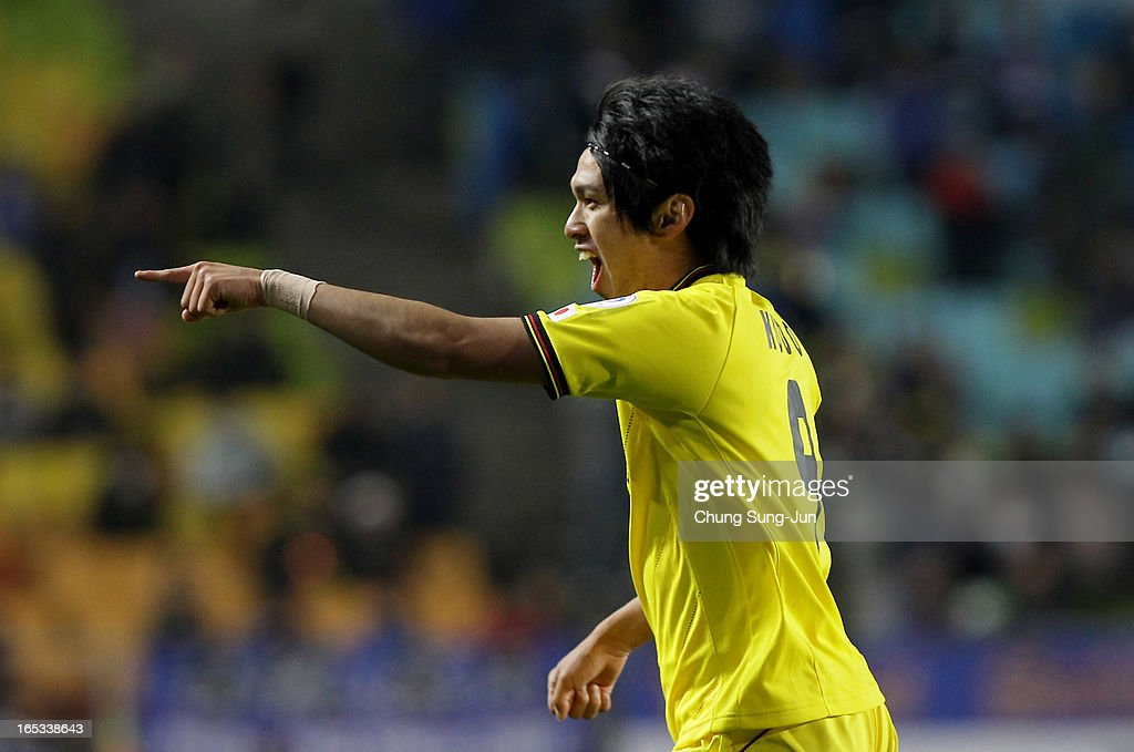 <a gi-track='captionPersonalityLinkClicked' href=/galleries/search?phrase=Masato+Kudo&family=editorial&specificpeople=7338682 ng-click='$event.stopPropagation()'>Masato Kudo</a> of Kashiwa Reysol celebrates after scoring a goal during the AFC Champions League Group H match between Suwon Bluewings and Kashiwa Reysol at Suwon World Cup Stadium on April 3, 2013 in Suwon, South Korea.