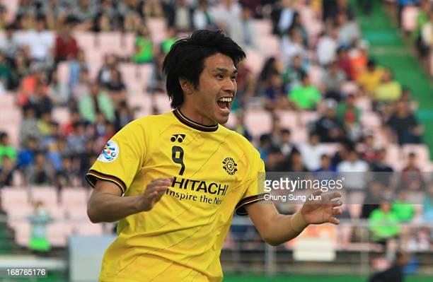 Masato Kudo of Kashiwa Reysol celebrates after scoring a goal during the AFC Champions League round of 16 match between Jeonbuk Hyundai Motors and...