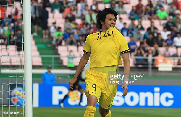 Masato Kudo of Kashiwa Reysol celebrates after scoring a goal during the AFC Champions League round of 16 match between Jeonbuk Hyundai Motors and...