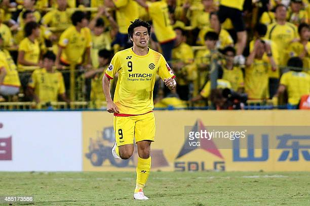 Masato Kudo of Kashiwa Reysol celebrates after scoring his team's first goal during the AFC Champions League quarterfinal football match between...