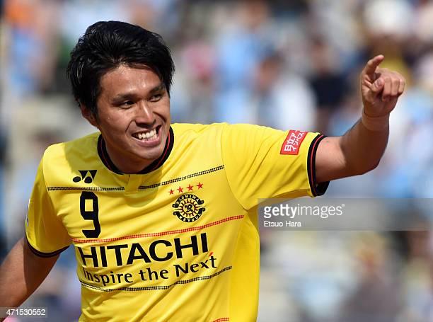 Masato Kudo of Kashiwa Reysol celebrates scoring his team's second goal during the JLeague match between Kawasaki Frontale and Kashiwa Reysol at...