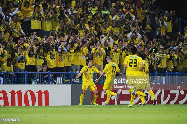 Masato Kudo of Kashiwa Reysol celebrates the first goal during the JLeague match between Kashiwa Reysol and Sagan Tosu at Hitachi Kashiwa Soccer...