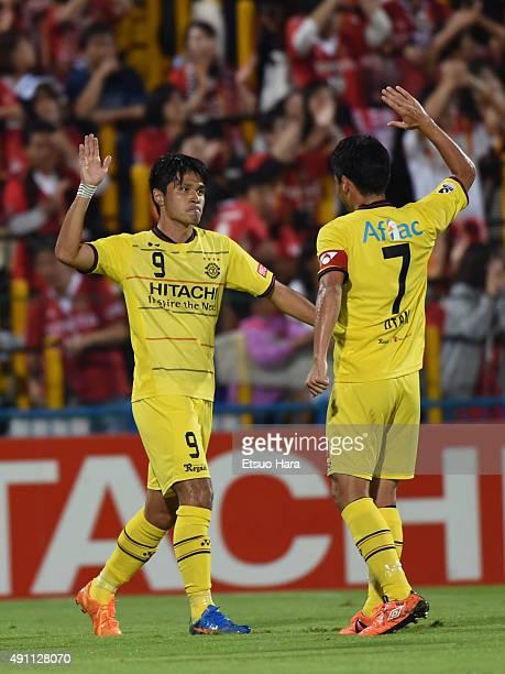 Masato Kudo of Kashiwa Reysol celebrates the first goal during the JLeague match between Kashiwa Reysol and Nagoya Grampus at Hitachi Kashiwa Stadium...