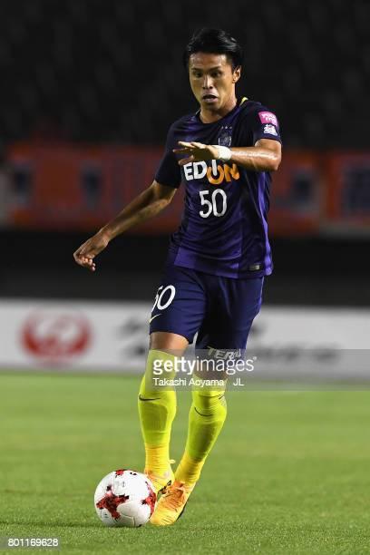 Masato Kudo of Sanfrecce Hiroshima in action during the JLeague J1 match between Sanfrecce Hiroshima and Omiya Ardija at Edion Stadium on June 25...