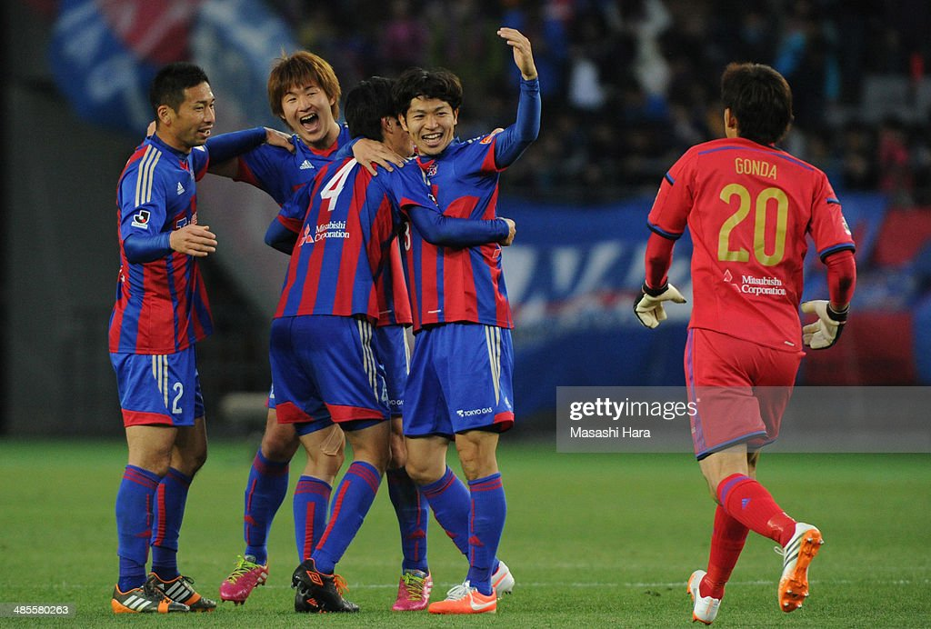 <a gi-track='captionPersonalityLinkClicked' href=/galleries/search?phrase=Masato+Morishige&family=editorial&specificpeople=5351303 ng-click='$event.stopPropagation()'>Masato Morishige</a> #3 of FC Tokyo celebrates the win after the J.League match between F.C. Tokyo and Cerezo Osaka at Ajinomoto Stadium on April 19, 2014 in Tokyo, Japan.