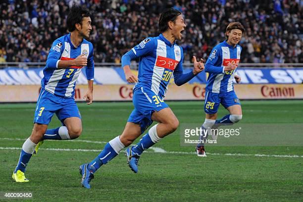 Masato Yamazaki of Montedio Yamagata celebrates the first goal during the J1 Promotion PlayOff Final match between JEF United Chiba and Montedio...