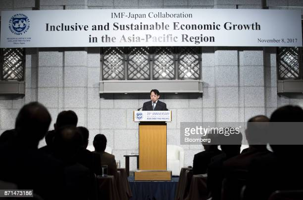 Masatsugu Asakawa vice minister for international affairs at Japan's Ministry of Finance delivers a speech during an event marking the 20th...