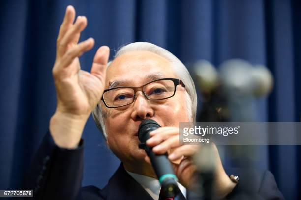 Masatsugu Nagato president and chief executive officer of Japan Post Holdings Co speaks during a news conference in Tokyo Japan on Tuesday April 25...