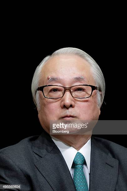 Masatsugu Nagato president of Japan Post Bank Co attends a news conference following the company's listing on the Tokyo Stock Exchange in Tokyo Japan...