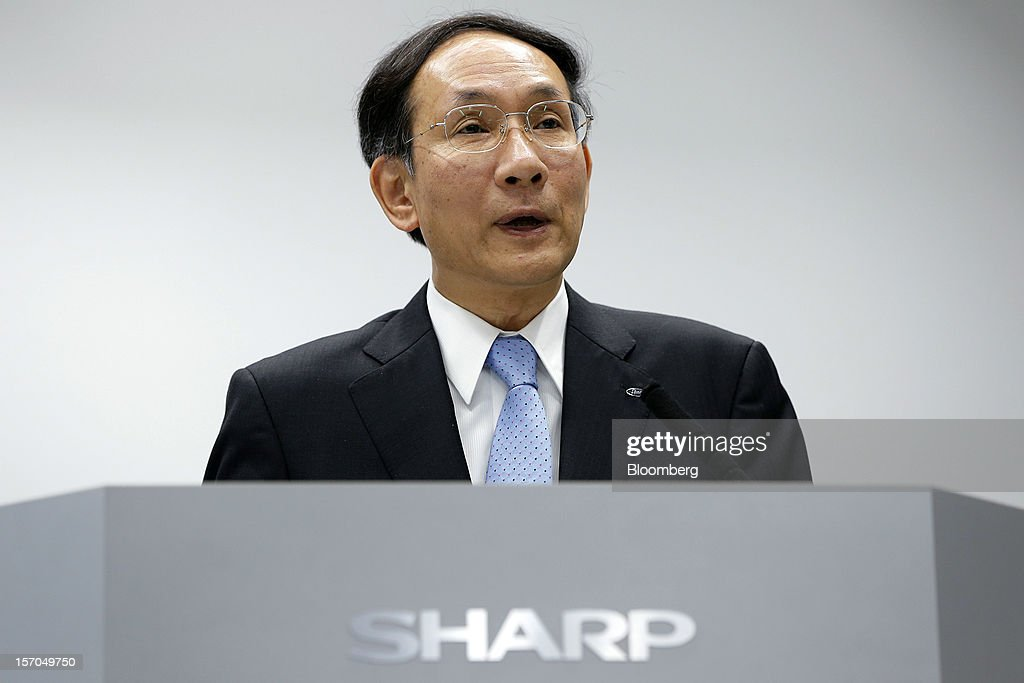 Masatsugu Terakawa, executive officer of Sharp Corp., speaks during the unveiling of the company's PN-K321, 32-inch 4K2K liquid crystal display (LCD) IGZO monitor in Tokyo, Japan, on Wednesday, Nov. 28, 2012. Sharp, Japan's largest maker of liquid-crystal displays, has lined up customers for its most advanced panels after saying earlier this year it was struggling to find buyers. Photographer: Kiyoshi Ota/Bloomberg via Getty Images