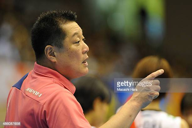 Masayoshi Manabecoach of Japan looks on during the match between Japan and South Korea during the FIVB Women's Volleyball World Cup Japan 2015 at...