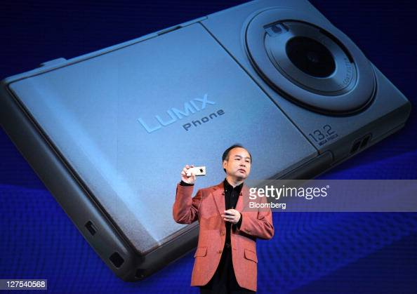 Masayoshi Son chairman and chief executive officer of Softbank Corp speaks during a news conference unveiling the company's new products in Tokyo...