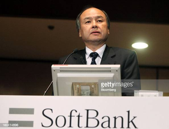 Masayoshi Son chairman and chief executive officer of Softbank Corp speaks during a news conference in Tokyo Japan on Thursday Jan 31 2013 Softbank...