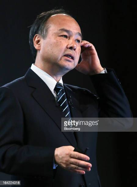 Masayoshi Son chairman and chief executive officer of Softbank Corp speaks during a news conference in Tokyo Japan on Thursday March 21 2013 A weaker...