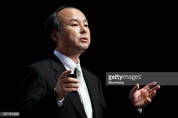 Masayoshi Son chairman and chief executive officer of Softbank Corp speaks during a news conference in Tokyo Japan on Tuesday April 30 2013 SoftBank...