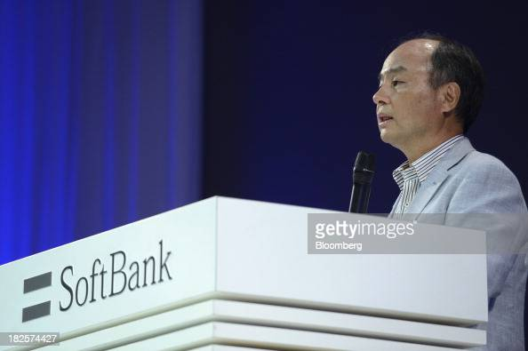 Masayoshi Son chairman and chief executive officer of SoftBank Corp speaks during a product launch of the company's new smartphones in Tokyo Japan on...