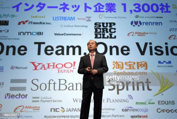 Masayoshi Son chairman and chief executive officer of SoftBank Corp speaks during a news conference in Tokyo Japan on Thursday Oct 31 2013 SoftBank...