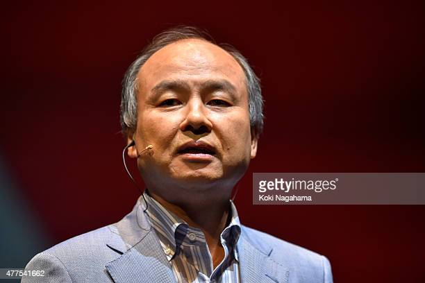 Masayoshi Son chairman and chief executive officer of SoftBank Corp speaks during the news conference on June 18 2015 in Chiba Japan Softbank Corp...