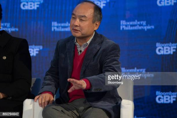 Masayoshi Son chairman and chief executive officer of SoftBank Group Corp speaks during the Bloomberg Global Business Forum in New York US on...