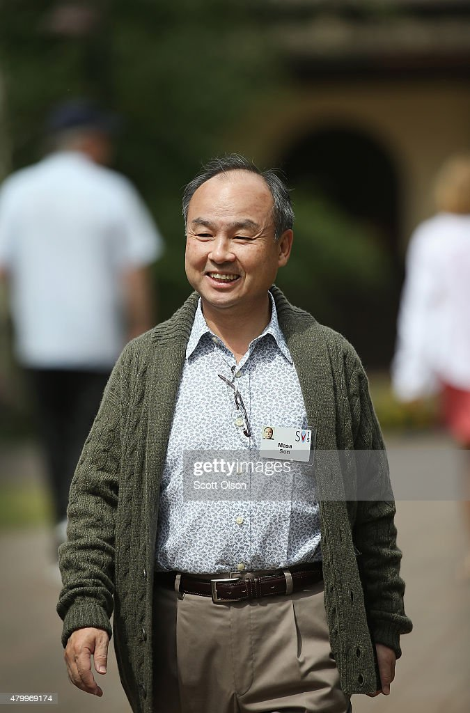 <a gi-track='captionPersonalityLinkClicked' href=/galleries/search?phrase=Masayoshi+Son&family=editorial&specificpeople=632759 ng-click='$event.stopPropagation()'>Masayoshi Son</a>, founder and chief executive officer of SoftBank, the chief executive officer of SoftBank Mobile, and current chairman of Sprint Corporation, attends the Allen & Company Sun Valley Conference on July 8, 2015 in Sun Valley, Idaho. Many of the world's wealthiest and most powerful business people from media, finance, and technology attend the annual week-long conference which is in its 33rd year.