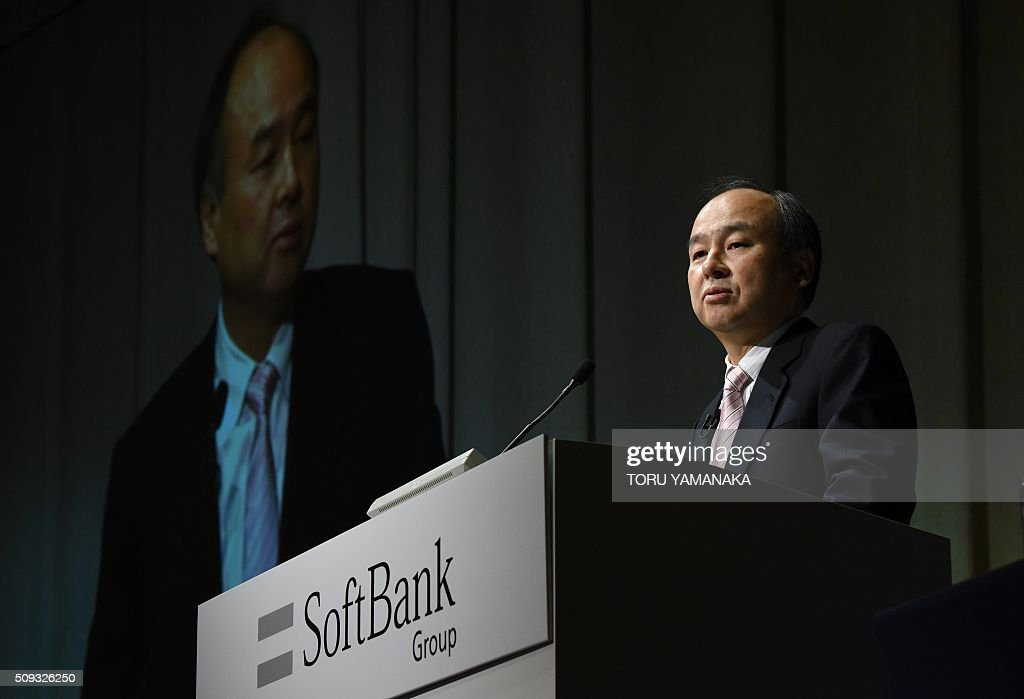 Masayoshi Son, president of Japan's telecom and Internet group SoftBank Group, speaks to journalists during a press conference in Tokyo on February 10, 2016. SoftBank said its consolidated net profit in the April to December period fell 26 percent from a year earlier, due partly to a huge one-time gain booked in the previous business year linked to its investment in Chinese e-commerce giant Alibaba Group Holdings Ltd. AFP PHOTO / Toru YAMANAKA / AFP / TORU YAMANAKA