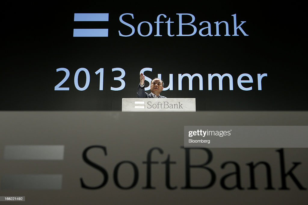 <a gi-track='captionPersonalityLinkClicked' href=/galleries/search?phrase=Masayoshi+Son&family=editorial&specificpeople=632759 ng-click='$event.stopPropagation()'>Masayoshi Son</a>, president of SoftBank Corp., gestures during a Q&A session at a product launch in Tokyo, Japan, on Tuesday, May 7, 2013. Son will visit the U.S. to meet with Sprint Nextel Corp. institutional investors to discuss the company's proposed takeover, SoftBank spokesman Mitsuhiro Kurano said today. Photographer: Kiyoshi Ota/Bloomberg via Getty Images