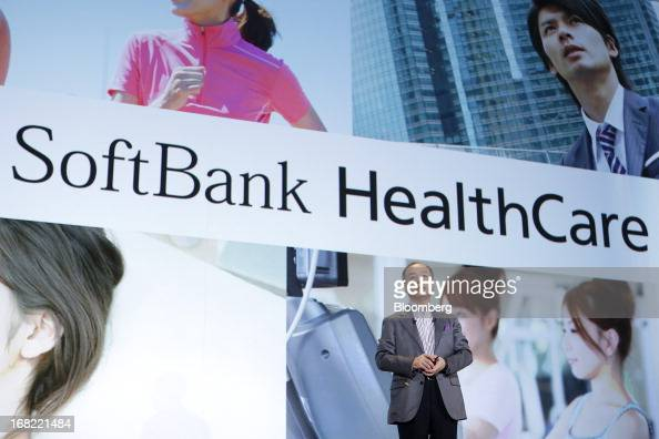 Masayoshi Son president of SoftBank Corp introduces the company's new SoftBank HealthCare service during a product launch in Tokyo Japan on Tuesday...