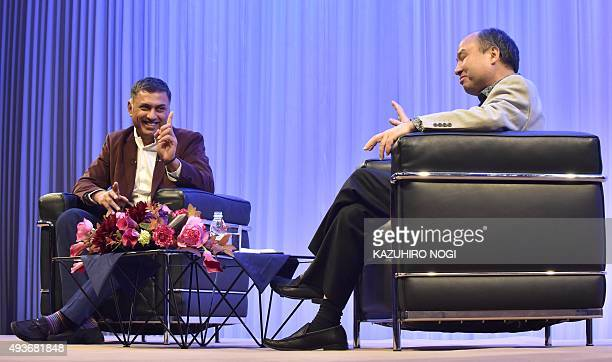 Masayoshi Son SoftBank Group Corp Chairman and CEO chats with his successor Nikesh Arora President and COO during the SoftBank Academia Special...
