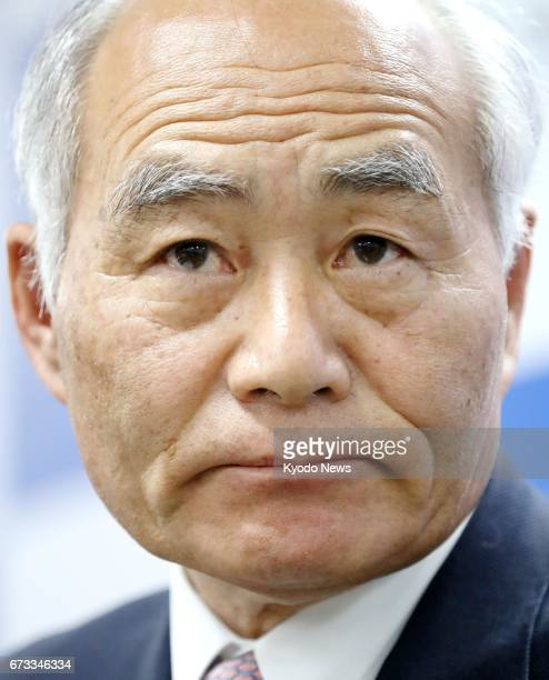 Masayoshi Yoshino a House of Representatives member from Fukushima Prefecture holds a press conference in Tokyo on April 26 after being appointed...