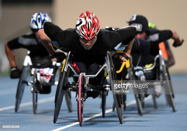 Masayuki Higuchi of Japan competes in 5000m Wheelchair Men's final during the 9th Fazza International IPC Athletics Grand Prix Competition World Para...