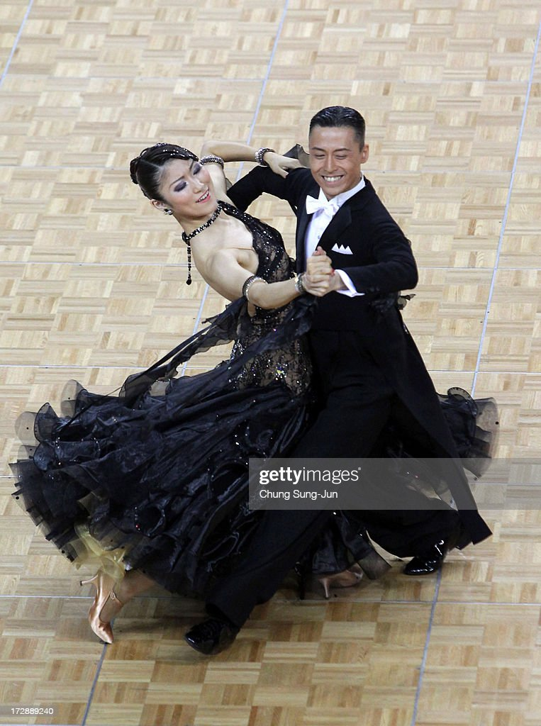 Masayuki Ishihara and partner Saori Ito of Japan compete in the Dancesport- Standard Five Dances Waltz Final at Samsan World Gymnasium during day seven of the 4th Asian Indoor & Martial Arts Games on July 5, 2013 in Incheon, South Korea.