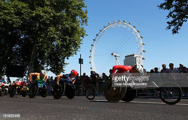 Masazumi Soejima of Japan David Weir of Great Britain Kurt Fearnley of Australia and Marcel Hug of Switzerland compete in the Mens T54 Marathon near...