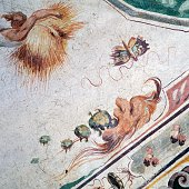 Mascaron spitting out toads grotesque frescoes in the Hall of the World upside down 15741590 Della Corgna palace or Ducal palace Castiglione del Lago...