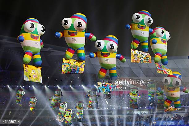 Mascot balloons float during the closing ceremony for the Nanjing 2014 Summer Youth Olympic Games at the Nanjing Olympic Sports Centre on August 28...