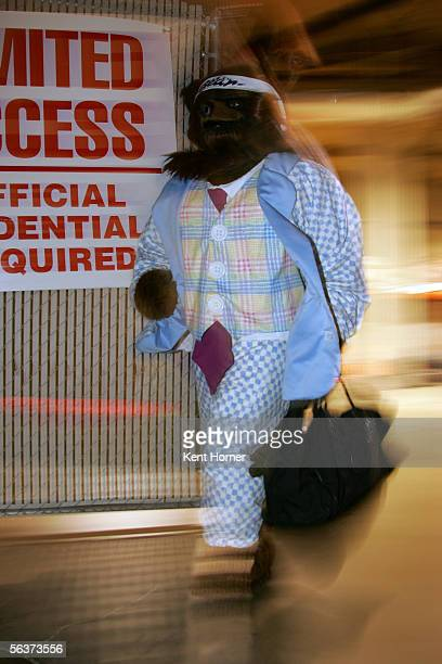 Mascot Bear of the Utah Jazz arrives to the game in dress code attire against the Atlanta Hawks on December 07 2005 at the Delta Center in Salt Lake...