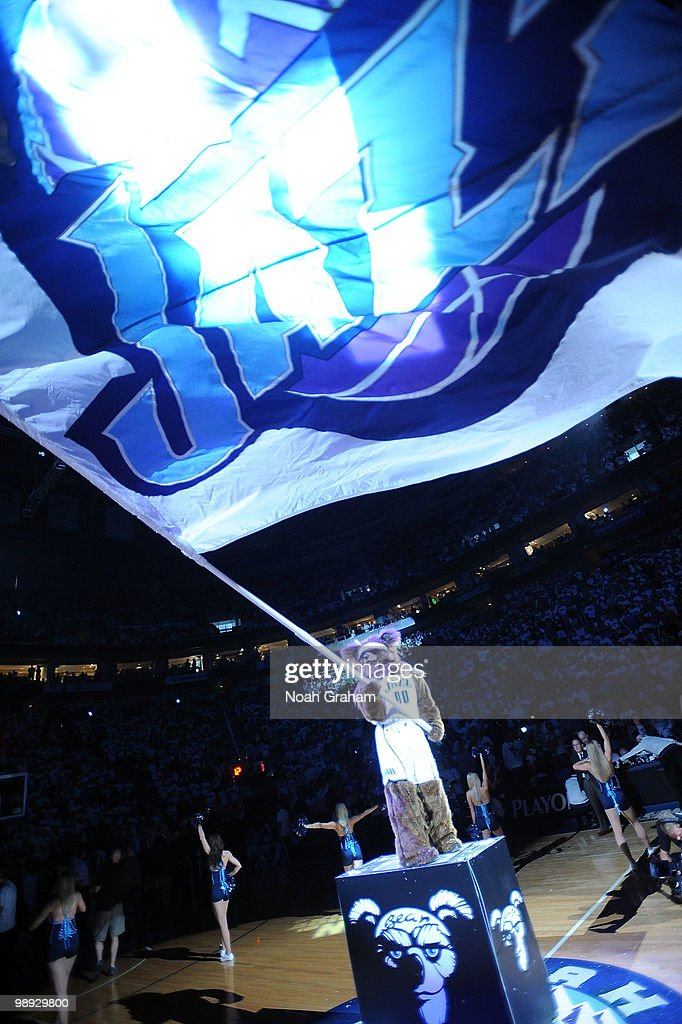 Mascot Bear waives a flag before the game between the Utah Jazz and the Los Angeles Lakers in Game Three of the Western Conference Semifinals during the 2010 NBA Playoffs at the EnergySolutions Arena on May 8, 2010 in Salt Lake City, Utah.