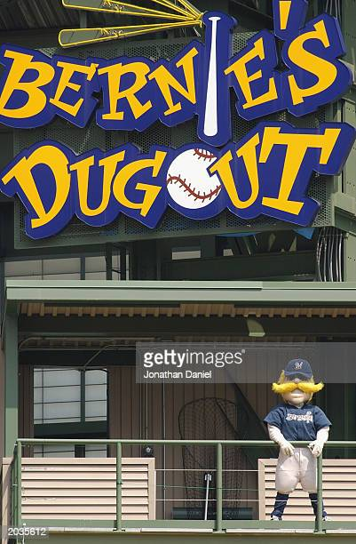 Mascot Bernie Brewer of the Milwaukee Brewers looks on from 'Bernie's Dugout' during the game against the Cincinnati Reds at Miller Park on May 17...