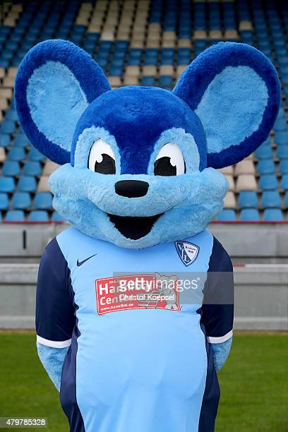 Mascot Bobbi Bolzer poses during the team presentation of VfL Bochum at Rewirpower Stadium on July 7 2015 in Bochum Germany