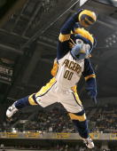 Mascot 'Boomer' of the Indiana Pacers performs during a timeout in the NBA game against the Toronto Raptors on December 30 2005 at Conseco Fieldhouse...