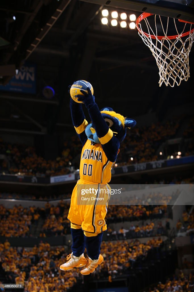 Mascot Boomer the Panther of the Indiana Pacers goes up for the dunk against the Washington Wizards during Game One of the Eastern Conference Semifinals on May 5, 2014 at Bankers Life Fieldhouse in Indianapolis, Indiana.