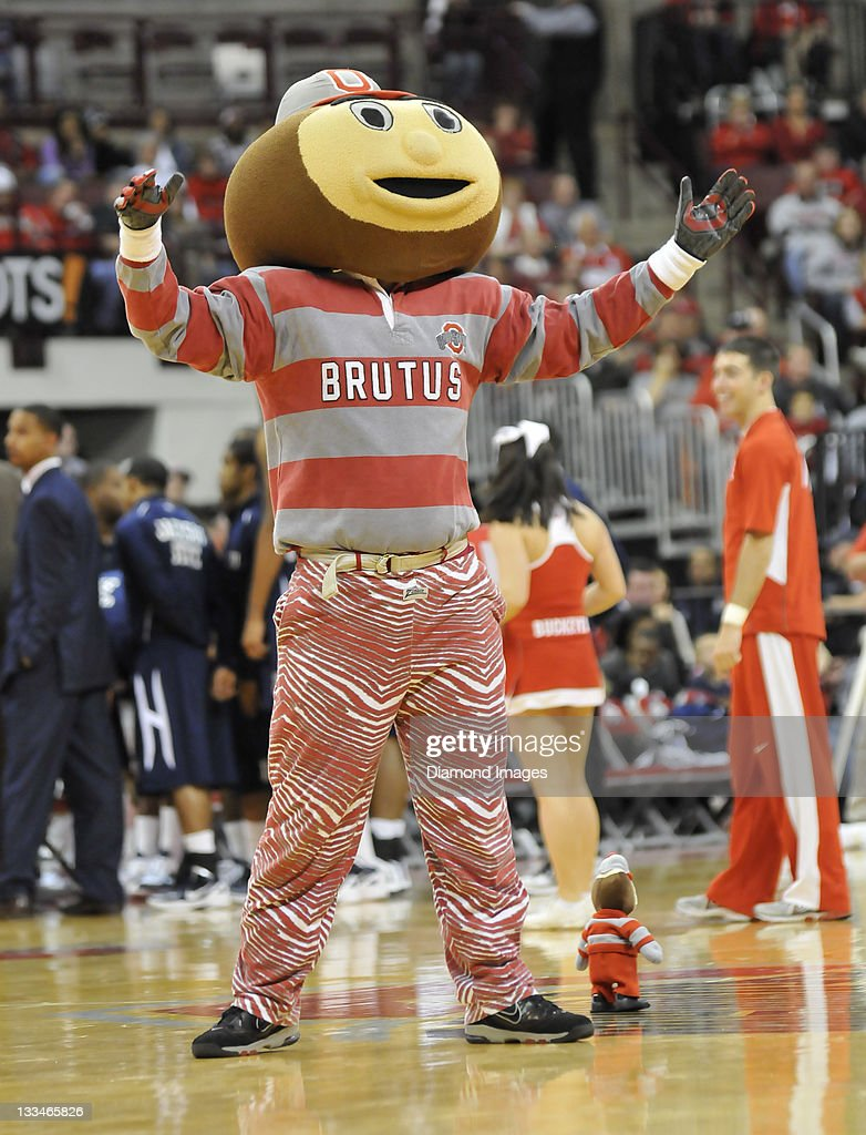 Mascot Brutis the Buckeye gets fans excited during a timeout during a game between the Jackson State Tigers and Ohio State Buckeyes at Value City Arena in Columbus, Ohio. The Buckeyes won 85 - 41.